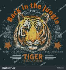 Back Jungle Poster Tshirt Print Tiger Stock Vector Black Light Posters