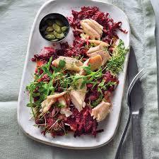 rote bete salat mit räucherforelle