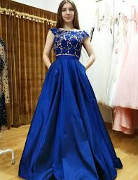 buy two piece bateau cap sleeves royal blue prom dress with