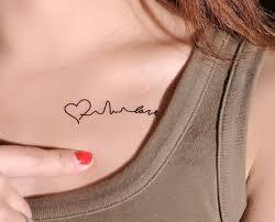 Stylish Women Show Small Heart And Heartsbeats Tattoo Design Make On Collarbone