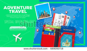 Adventure Travel Banner Business Trip Passport With Wallet And Tickets Illustration