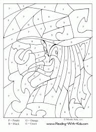 Halloween Color By Number Worksheets Kindergarten Coloring