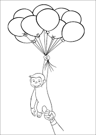 Flying Curious George With Balloon Coloring Pages Free