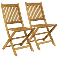 Pair Of Wooden Outdoor Dining Patio Foldable Chairs