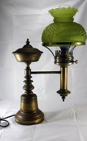 antique brass student l original oil kerosene l green