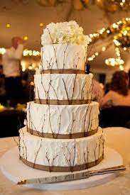 Rustic Burlap Wedding Cake With Tree Braches For Fall Winter
