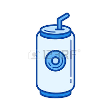 Soda can vector line icon isolated on white background Blue icon designed on a grid