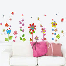 Wall Mural Decals Flowers by Beautiful Flowers Floral Butterfly Diy Wall Stickers Wallpaper