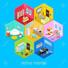isometrischen startseite haus interieur mit wohnzimmer küche bad garage und kinderzimmer vector 3d flach illustration