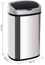 homcom automatik mülleimer abfalleimer mit infrarotsensor kücheneimer 48l silber l40 9 x b28 9 x h64 3 cm
