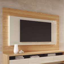 Sylvan 7086 Inch Off White Natural Wood TV Panel W LED Lights By Manhattan Comfort