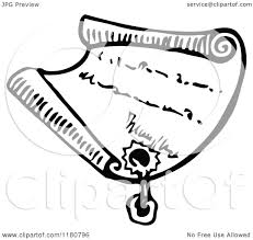 Clipart of a Retro Vintage Black and White Letter with a Wax Seal