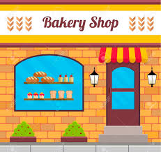 Bakery facade in flat style EPS10 vector illustration of city public building square architecture