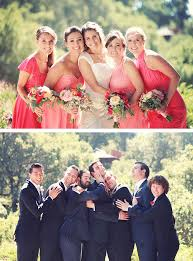 Bridesmaids In Mismatched Coral Dresses Groomsmen Navy Suits With Red Accents Fall Wedding