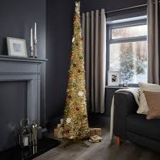 Slimline Christmas Tree by 6ft Pop Up Champagne Pre Lit U0026 Pre Decorated Christmas Tree