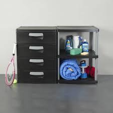 Plastic Storage Cabinets At Walmart by Sterilite 3 Shelf Unit Black Walmart Com