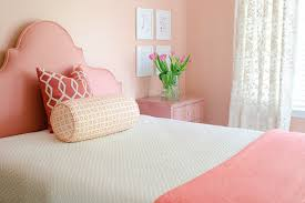 Coral Color Interior Design by Coral Headboard Transitional Bedroom Jws Interiors