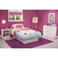 South Shore Libra Twin Size Platform Bed in Pure White