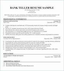 Resume Bank Teller No Experience New Skills