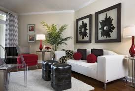 Black Leather Couch Decorating Ideas by White Leather Couch With Red And Brown Cushions Combined By Black
