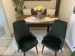 stühle küche esszimmer velours dunkelgrün