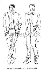 Fashion Vector Illustration Two Stylish Autumnal Dude Mens In The Style Of Doodle Outline