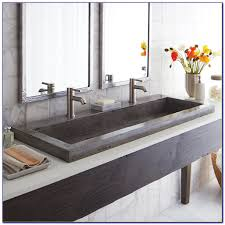 36 Double Faucet Trough Sink by Trough Bathroom Sink With Two Faucets Bathroom Home Decorating