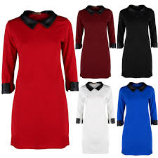 womens ladies party plain black pvc leather collar sleeve shift
