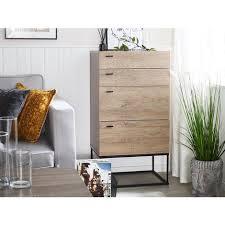 kommode braun heller holzfarbton spanplatte metall faserplatte melaminbeschichtung 105 x 55 x 41 cm minimalistisch 4 schubladen wohnzimmer