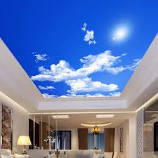 blauen himmel weiße wolken sonnenschein decke zenit wandbild nach 3d foto tapete für wohnzimmer decke dekoration wandbild tapete