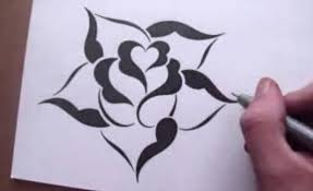 Drawing A Rose In Simple Stencil Design Style