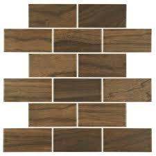 Daltile Parkwood Brown 12 in x 12 in x 6 mm Ceramic Brick Joint