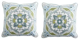 Pier One Blue Throw Pillows by The Yellow Cape Cod Updated Traditional Two Room Design The