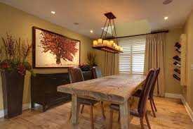 rustic wood dining table dining room rustic with beige curtain