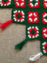 Square Afghan Large Christmas Tree Skirt Red Green Hover To Zoom