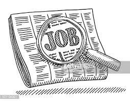 Newspaper Job Loupe Drawing Vector