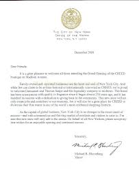 A Letter from Mayor Bloomberg to Creed on the Occasion of the