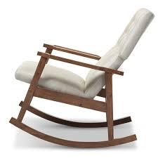 Wayfair Furniture Rocking Chair by Baxton Studio Agatha Mid Century Modern Light Beige Fabric