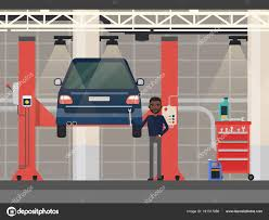 100 Car Elevator Garage Repair Or DiagnosticVehicle At Lift Elevator Stock Vector
