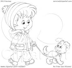 Clipart of a Cartoon Black and White Lineart Boy Wearing a Winter Coat and Walking a