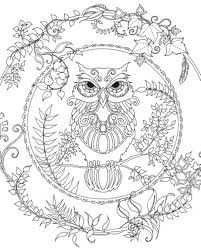 Cute Halloween Owl Coloring Pages Enchanted Forest Colouring Adult Detailed Advanced Printable Mandala For Adults Animal