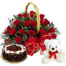 30 red roses with 1 Pound black forest cake with teddy bear
