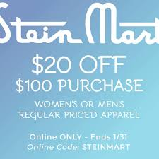 Stein Mart Coupon Code: $20 Off In A $100 Or More Purchase Smart Fniture Coupon Code Saltgrass Steak House Plano Tx Area 51 Store Scream Zone Coupons Stein Mart The Bargain Bombshell Coupon Codes 3 Valid Coupons Today Updated 20181227 Money Mart Promo Quick Food Ideas For Kids Barcode Nexxus Printable 2019 Bookdepository Discount Codes Promo Fonts Com Hell Creek Suspension Venus Toddler Lunch Box Daycare Discounts Code Travelex