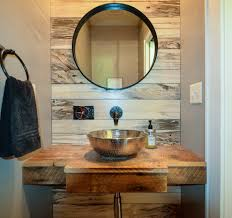 kansas city gold bathroom mirror powder room rustic with wood