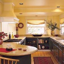 Yellow Kitchen With Recessed Lighting Fixtures Blue Decor Green