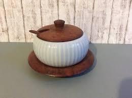 porzellan marmeladen konfitüretopf untersetzer teakholz mit