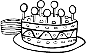Birthday cake free clipart color page