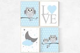 Baby boy nursery decor owl nursery decor Blue gray nursery boys