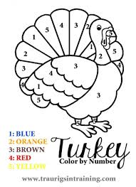 Subtraction Color By Number Kindergarten Thanksgiving Day Coloring Pages Free Page Sheets Turkey Simple Outline Easy