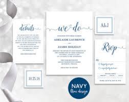 Navy Blue Wedding Invitation Template Invites INSTANT DOWNLOAD Editable